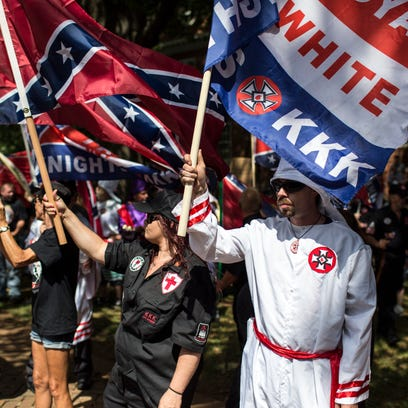 CHARLOTTESVILLE, VA - JULY 08: The Ku Klux Klan protests