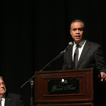 CBS News' Maurice DuBois speaks during the Catharine