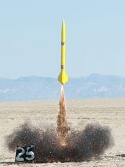 "Reno Rocketry launches a rocket called ""Vault Tech"" in the Black Rock Desert in September, 2013."