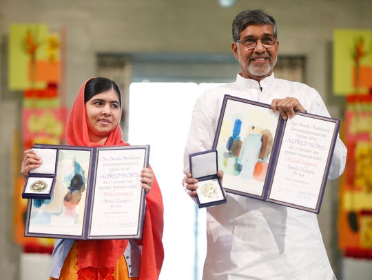 Nobel laureates Kailash Satyarthi and Malala Yousafzai
