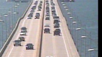 Traffic on Pensacola Bay Bridge toward Gulf Breeze and Pensacola Beach is picking up.
