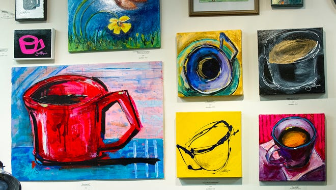 Artwork created by Janett Marie hangs in the artist's studio at the Stutz. Artists that create works in The Stutz Business Center will be participating in the Raymond James 2014 Stutz Artists Openhouse April 25-26.