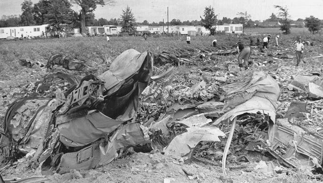Seventy-eight passengers and a crew of four aboard an Allegheny Airlines DC9 jetliner died in a mid-air collision with a small private plane with a student pilot at the controls (who was also killed) near Shelbyville on Sept. 9, 1969.