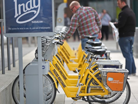 Pacers Bikeshare has 29 docks around the city. The program is planning to expand by 25 docks next year.