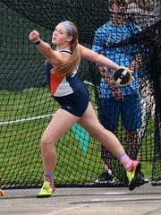 Galion's Briana Strieb competes in the discus during