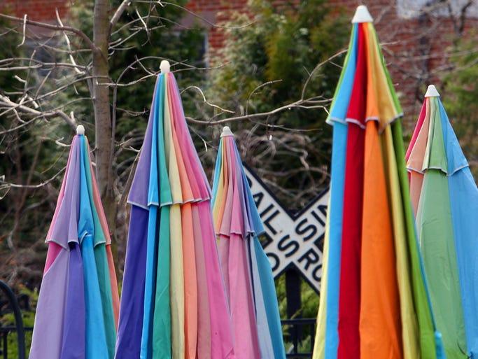 #umbrellas #colorful #coldspring #hudsonriver  #lohud on April 9, 2014