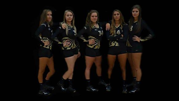 The Hayesville volleyball team's seniors.