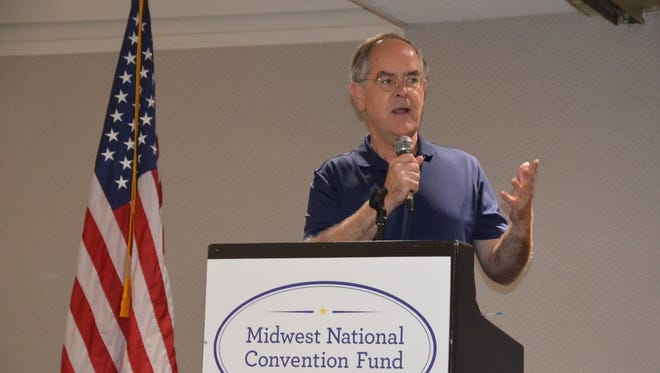 Rep. Jim Cooper, D-Nashville, speaks before Tennessee and Minnesota Democratic delegates at a breakfast outside of Philadelphia on Wednesday.