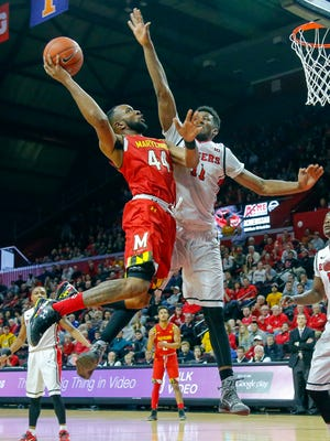 Maryland Terrapins guard/forward Dez Wells (44) drives to the basket during the second half against Rutgers Scarlet Knights forward/center Kadeem Jack (11) at the Louis Brown Athletic Center.