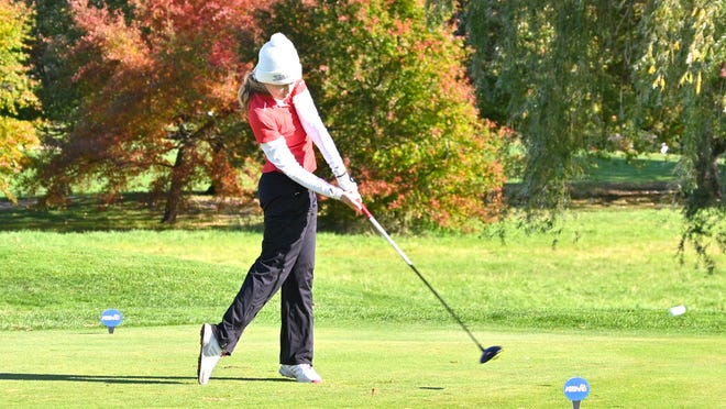 Coldwater's Taylor Musselman tees off at Forest Akers West Friday during the MHSAA Division Two State Finals.