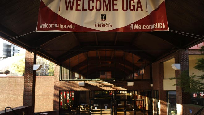 The empty Tate Plaza on the campus of the University of Georgia in Athens, Ga, on Thursday, April 2, 2020. UGA moved all classes online for the remainder of spring and summer semesters as well as canceling spring commencement in order to prevent the spread of COVID-19.