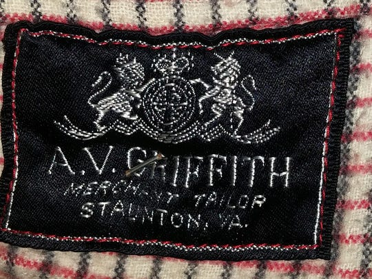 A.V. Griffith label found inside of a riding jacket that he made.