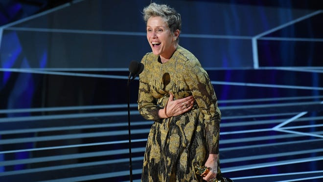 "Frances McDormand had the audience on their feet with her rousing acceptance speech for best actress for ""Three Billboards Outside Ebbing, Missouri."""