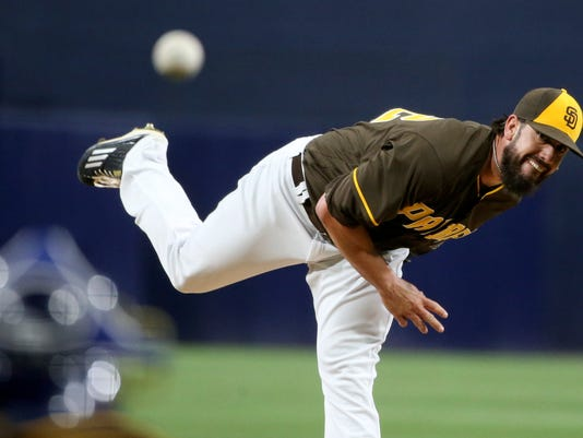 San Diego Padres starting pitcher James Shields works against the Arizona Diamondbacks during the first inning of a baseball game Friday, April 15, 2016, in San Diego. (AP Photo/Lenny Ignelzi)
