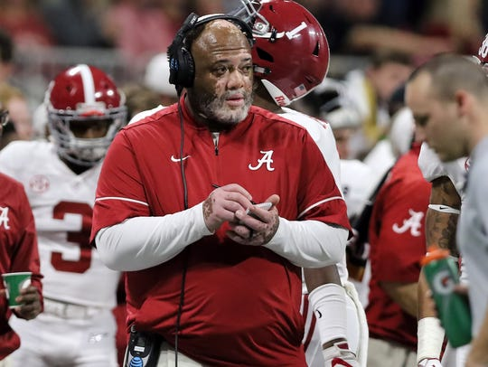 Alabama assistant coach Karl Dunbar is shown on the sideline Jan. 8 during the CFP National Championship Game.