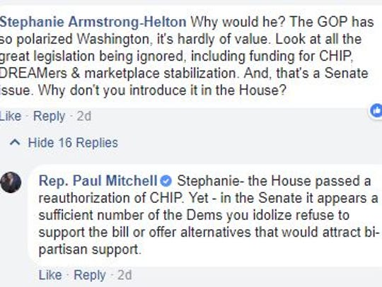 A screenshot of comments on Rep. Paul Mitchell's Facebook