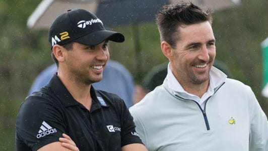Jason Day (left) and Jake Owen (center) talk with Vero Beach Country Club head professional Randy Hedgecock prior to the start of their round Sunday.