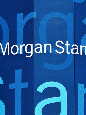 Morgan Stanley logo at the financial firm's Manhattan offices in New York City.