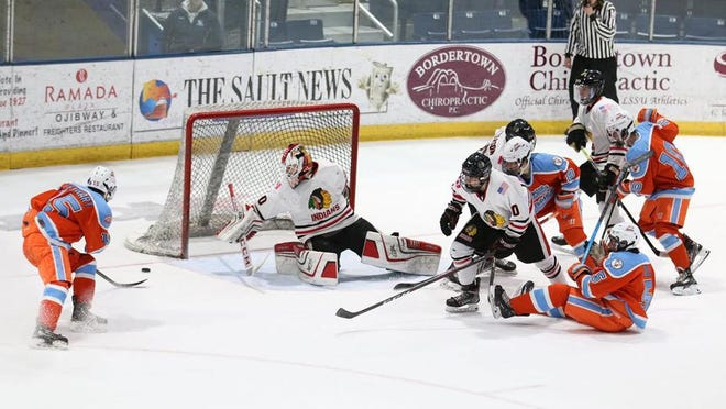 Soo Indians goaltender Logan Raffaele makes a save against Little Caesars. The Indians swept a pair of MAHA games against Little Caesars, 2-0 and 4-0, over the weekend at Taffy Abel Arena. On Saturday,  Connor McAleer and Drew Miotke scored goals, and Raffaele made 25 saves. On Sunday. Colin Handy, Colin Goff, Will Boyer and Bryce Grandbois scored goals, and Raffaele was in net again for the shutout.  The Indians are scheduled play Meijer AAA on Nov. 28-29 at Taffy Abel Arena.