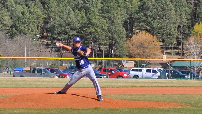 Senior Hayden Frierson is seen here pitching for Ruidoso High in a home game against Robertson March 15.