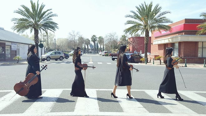 Harmony orchestra students Yeayun Son, Michelle Tapia, Lorena Villa and Linda Tejada will join Abbey Road on stage this weekend.