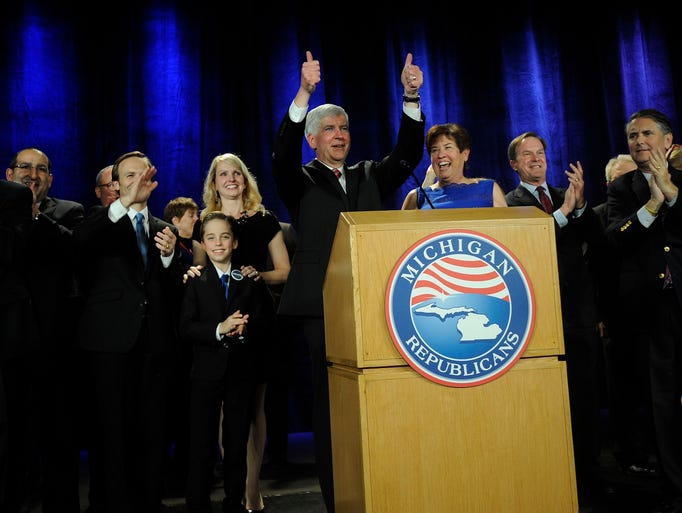 Gov. Rick Snyder addresses his supporters after his