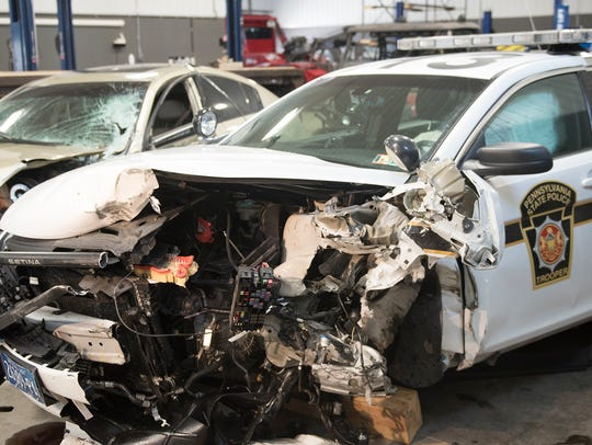 A Pennsylvania State Police vehicle ws damaged in a