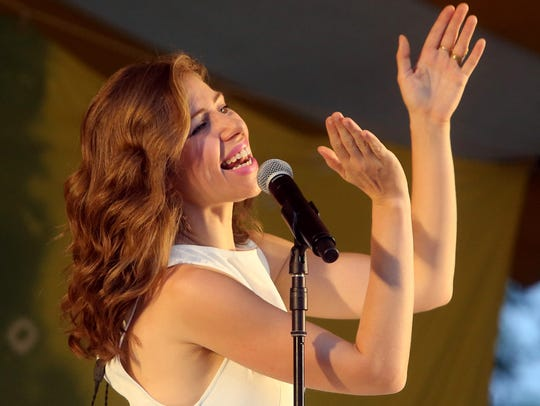 Rachael Price, lead singer for Lake Street Dive, performs at the Clearwater Great Hudson River Revival at Croton Point Park June 17, 2017.