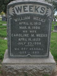 Gravestone of William and Caroline Weeks in Angeles