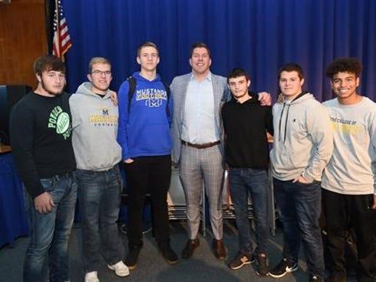 Two-time Super Bowl Champion David Diehl visits Manville High School