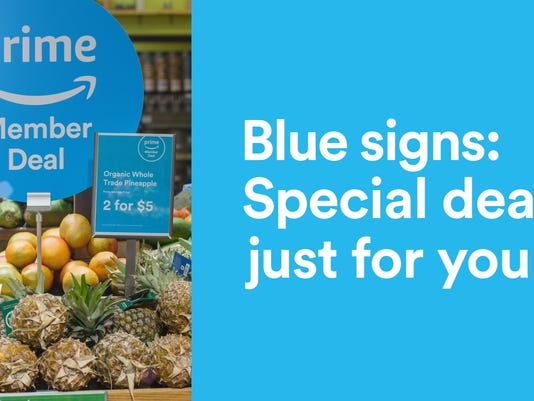 Blue sale sign for Prime members