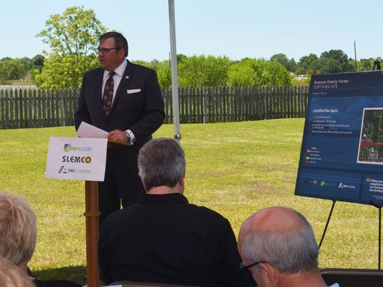 One Acadiana President & CEO Troy Wayman speaks to regional partners at the Bratton Family Farms certified site announcement Wednesday.