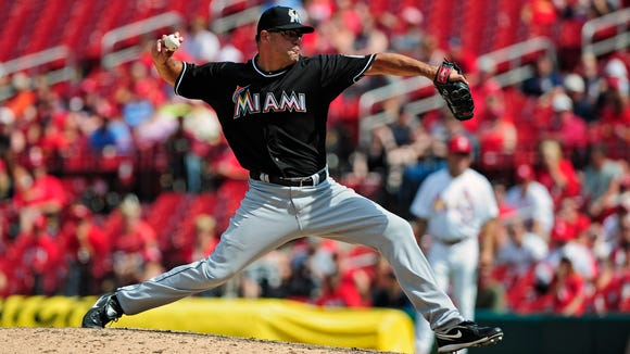 Former Miami Marlins relief pitcher Kevin Gregg (63)