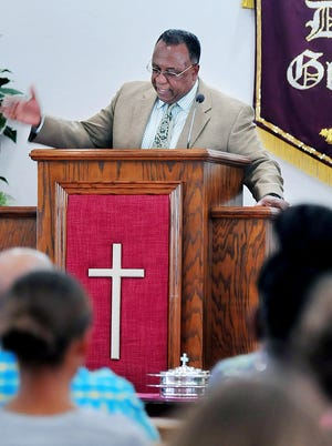 Pastor Myrue Spivey of Palm Bay, Fla., conducts Sunday mornings worship service at  Grace Bible Sanctuary in Palm Bay .