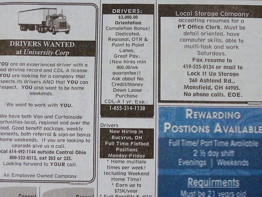 Trucking jobs and health care positions are among the