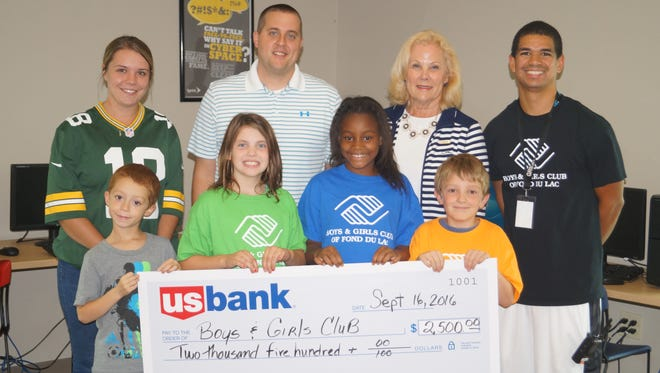 Pictured front row, from left, are: Club members Carter Bell, Kendra Whitty, Kalyse Straughter and Caleb Calliari. Back row, from left, are: Courtney Froehlich, U.S. Bank associate; Dan Hebel, CEO of Boys & Girls Club of Fond du Lac; Melanie Fox, executive assistant at U.S. Bank; and Eric Pantojas, Boys & Girls Club teen center staff.