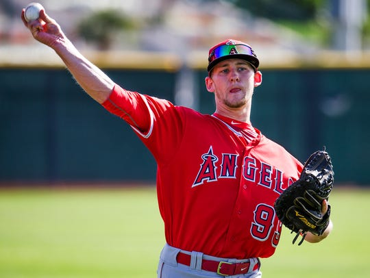 Los Angeles Angels of Anaheim catcher Taylor Ward works