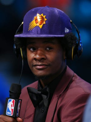 Jun 22, 2017; Brooklyn, NY, USA; Josh Jackson (Kansas) is interviewed after being introduced as the number four overall pick to the Phoenix Suns in the first round of the 2017 NBA Draft at Barclays Center.