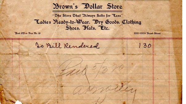 Receipt from Brown's Dollar Store, dated May 1,1920: This receipt was found in the basement of Chuck's Fish restaurant and given to the Tuscaloosa Public Library. You can see it and receipts from other local businesses in the Tuscaloosa Area Virtual Museum: tavm.omeka.net/items/show/2257. Comments? Information? Reach bettyslowe6@gmail.com.