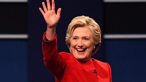 Democratic presidential candidate Hillary Clinton greets