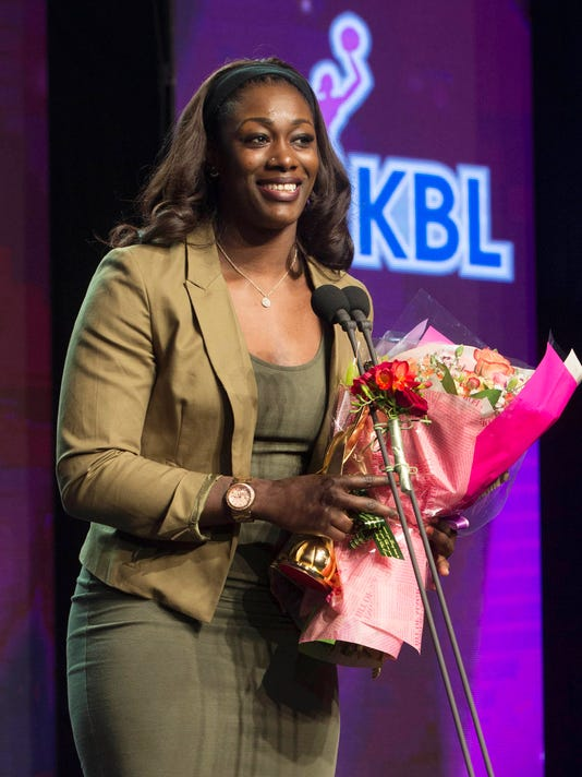 In this Monday, March 7, 2016 photo, Chelsey Lee who played for Bucheon KEB Hana Bank in the WKBL, Women's Korean Basketball League, speaks during the award ceremony of 2015-16 WKBL, in Seoul, South Korea. The South Korean women's professional basketball league on Thursday, June 16, 2016, is considering permanently banning and erasing the statistics of a star American player Lee accused of forging birth documents in a bid to qualify to compete in the domestic competition. (Yonhap via AP) KOREA OUT