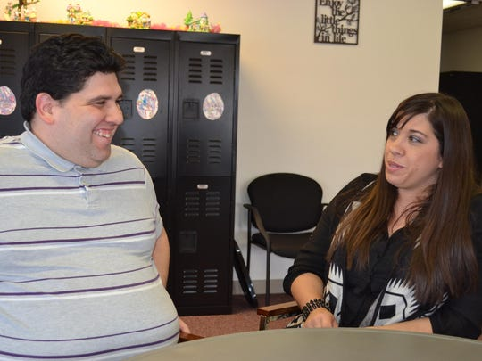 Tony Meza shares a light moment with his sister, Andrea Bartson, who said Meza is a passionate supporter of self-advocacy.