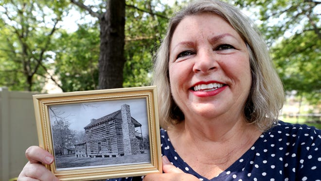 Sherry Maraschiello shows off the location were the original Sam Davis Home stood and talks about the connection to the location and Judy Garland on Aug. 14.