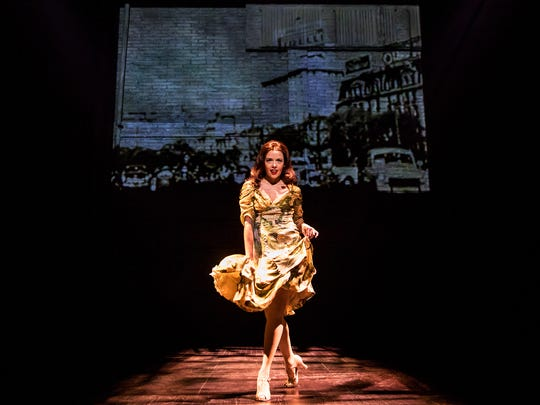 "Janet Dacal as Eva Peron in ""Prince of Broadway."""