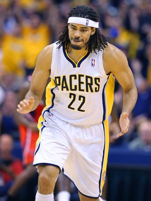 Indiana Pacers' Chris Copeland (22) reacts as he heads up court during the second half of action. Indiana Pacers play the Atlanta Hawks in game 5 of their Eastern Conference playoff game Monday, April 28, 2014 evening at Bankers Life Fieldhouse. The Pacers fell to the Hawks 107-97.