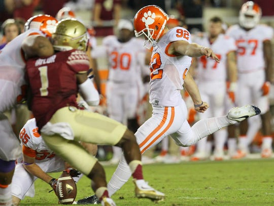 Clemson kicker Greg Huegel(92) makes a go-ahead field goal during the fourth quarter on Saturday October 29 at Doak Campbell Stadium in Tallahassee, Florida.