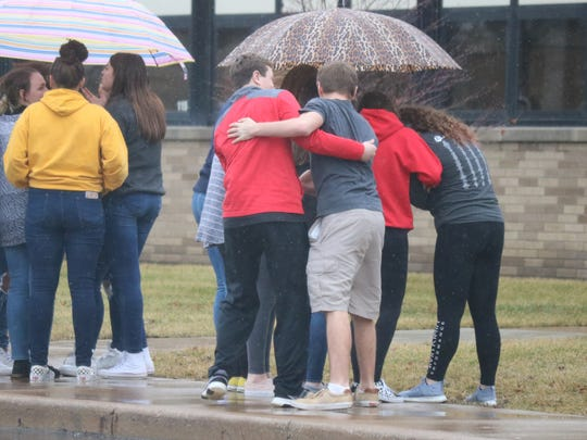 Port Clinton High School students held an organized walkout on Wednesday to show solidarity with the students of Marjory Stoneman Douglas High School School in Parkland, Florida, victims of a school shooting that killed 17 last week.