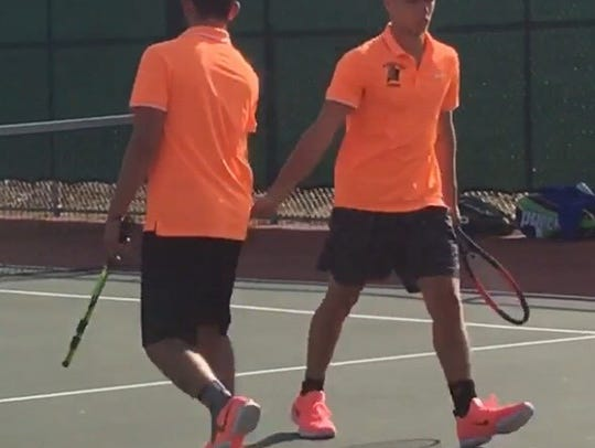 Marshfield's doubles team of Jared Cordova and Braeden