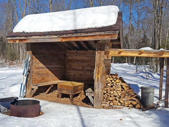 A warming shelter along the McNaughton Lake trails in the Northern Highland American Legion State Forest is stocked with wood and fire-starting materials.