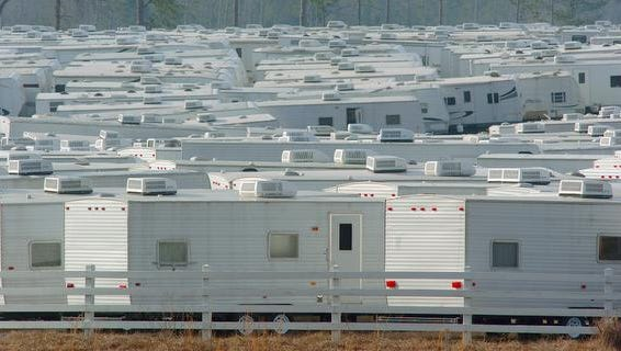 Thousands of FEMA trailers cover the landscape in Purvis, Miss.